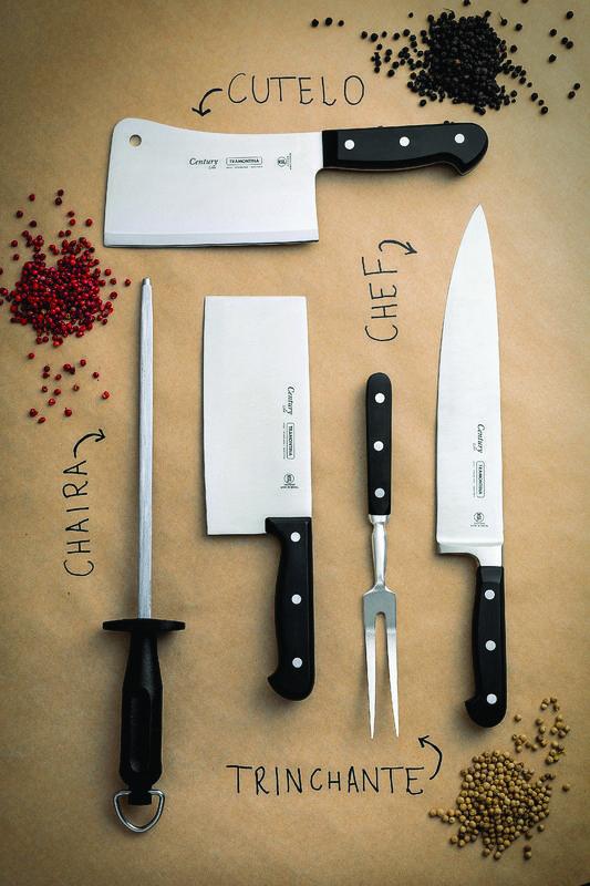 """Kit Masterchef - Faca Chef 10"""" Tramontina Century + Chaira 10"""" Tramontina Century"""