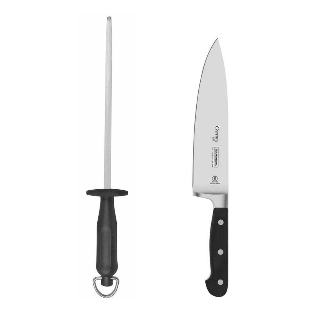 """Kit Masterchef - Faca Chef 8"""" Tramontina Century + Chaira 10"""" Tramontina Century"""
