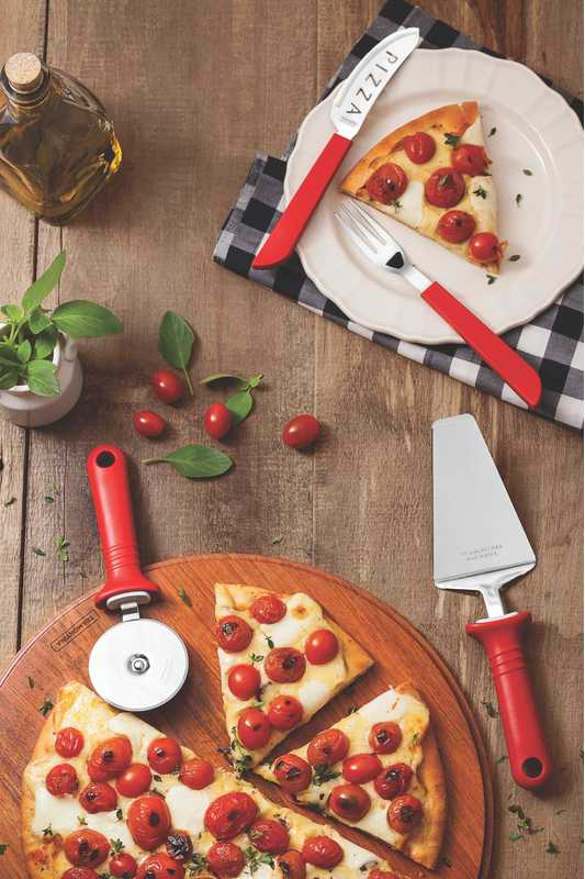 Kit Para Pizza 14 Peças Tramontina Vermelho 25099/722