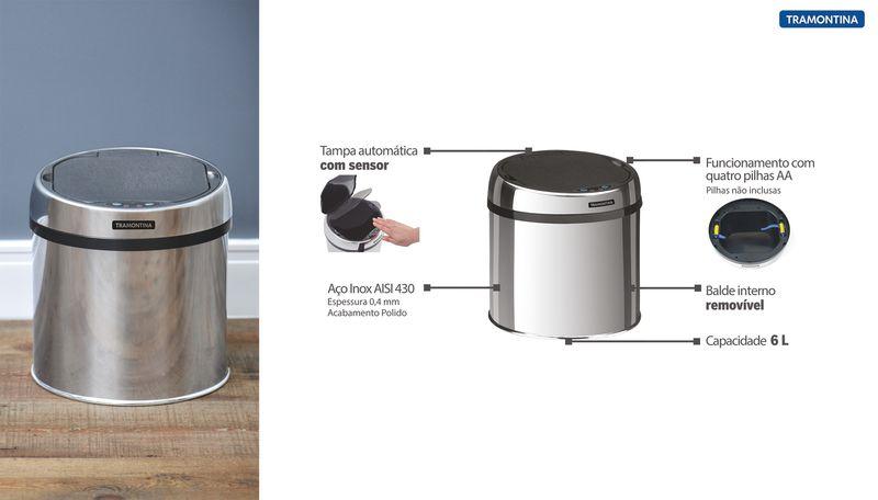 Lixeira Automática Com Sensor Em Aço Inox Com Pedal e Balde 6 Litros Tramontina Easy 94543/006