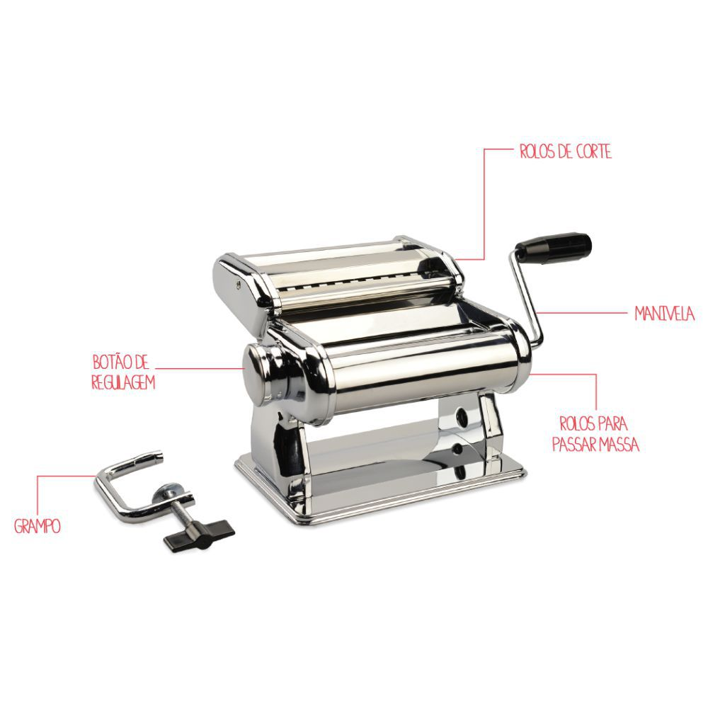Máquina de Macarrão Aço Inox Com Rolos de Corte e Regulagem Brinox Verona 2520/103