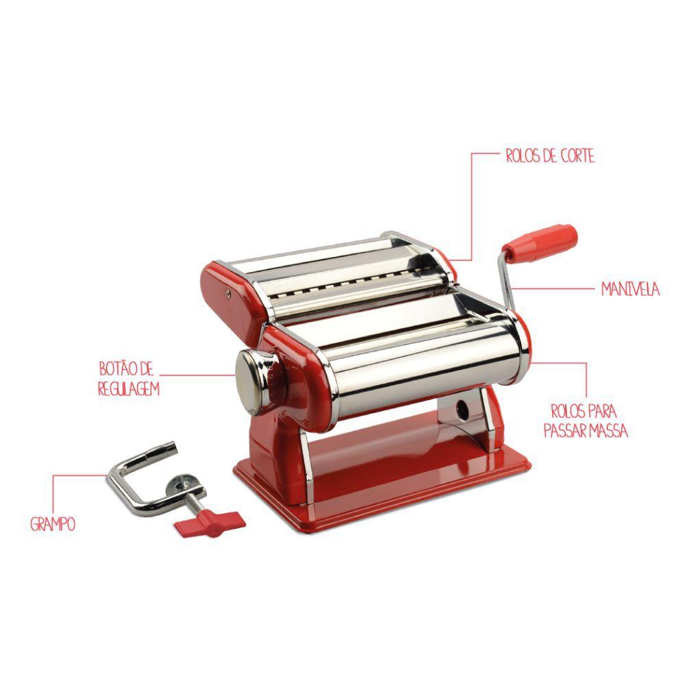 Máquina de Macarrão Com Rolos de Corte e Regulagem Vermelha Brinox Verona 2520/104