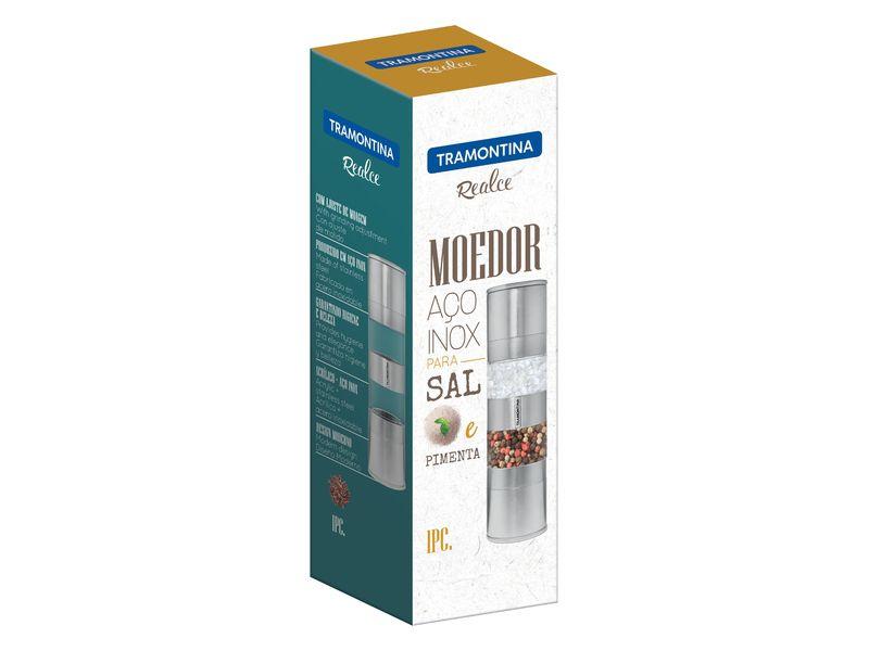 Moedor Duplo Aço Inox e Acrílico Tramontina Realce 2 em 1 Sal e Pimenta 61655/000