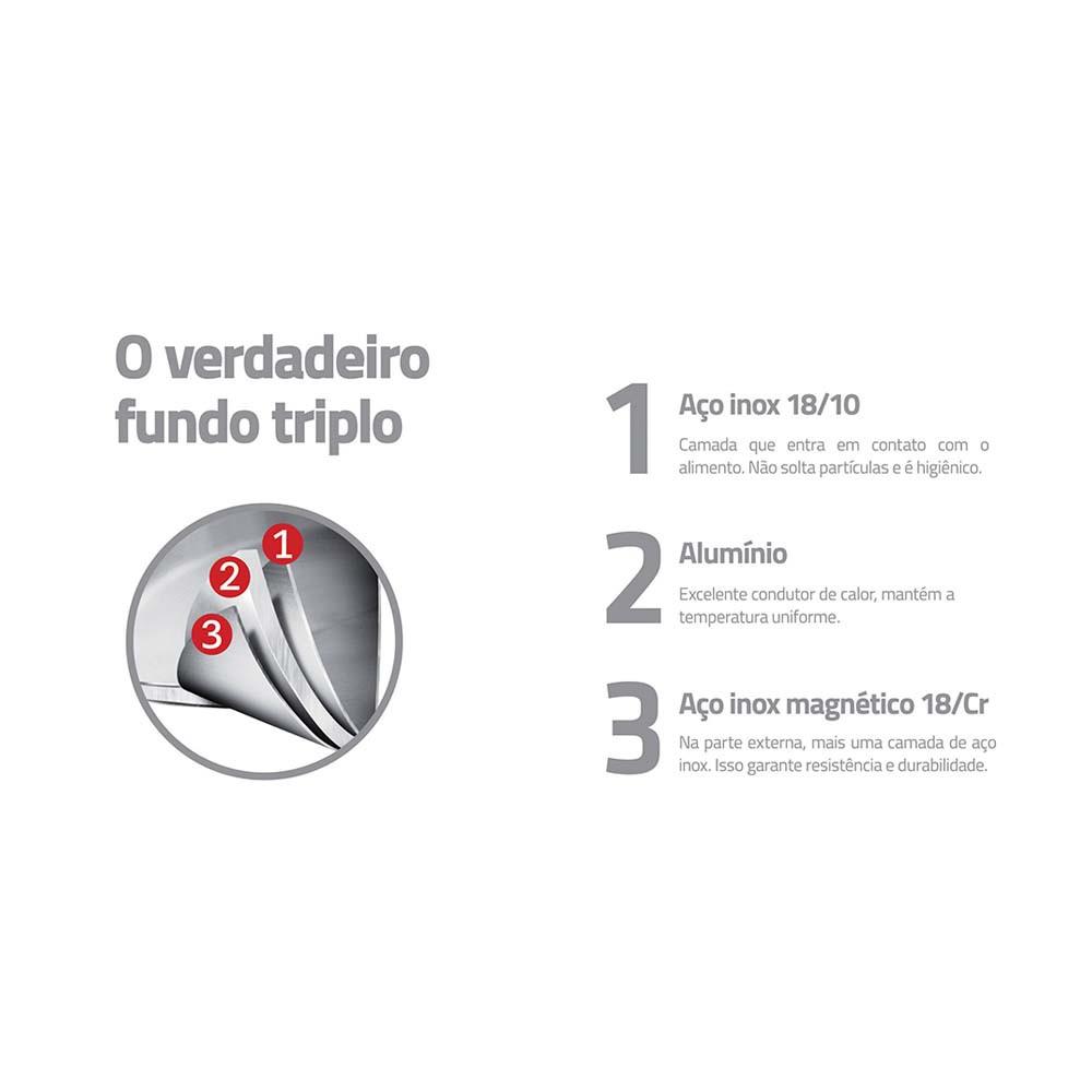 Panela de Pressao Tramontina ACO INOX Fundo Triplo 6,0 Litros Allegra 62676/220