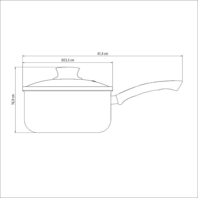 Panela em Aluminio Antiaderente com Tampa de Vidro Tramontina Paris 22 CM 4,0 L Vermelha
