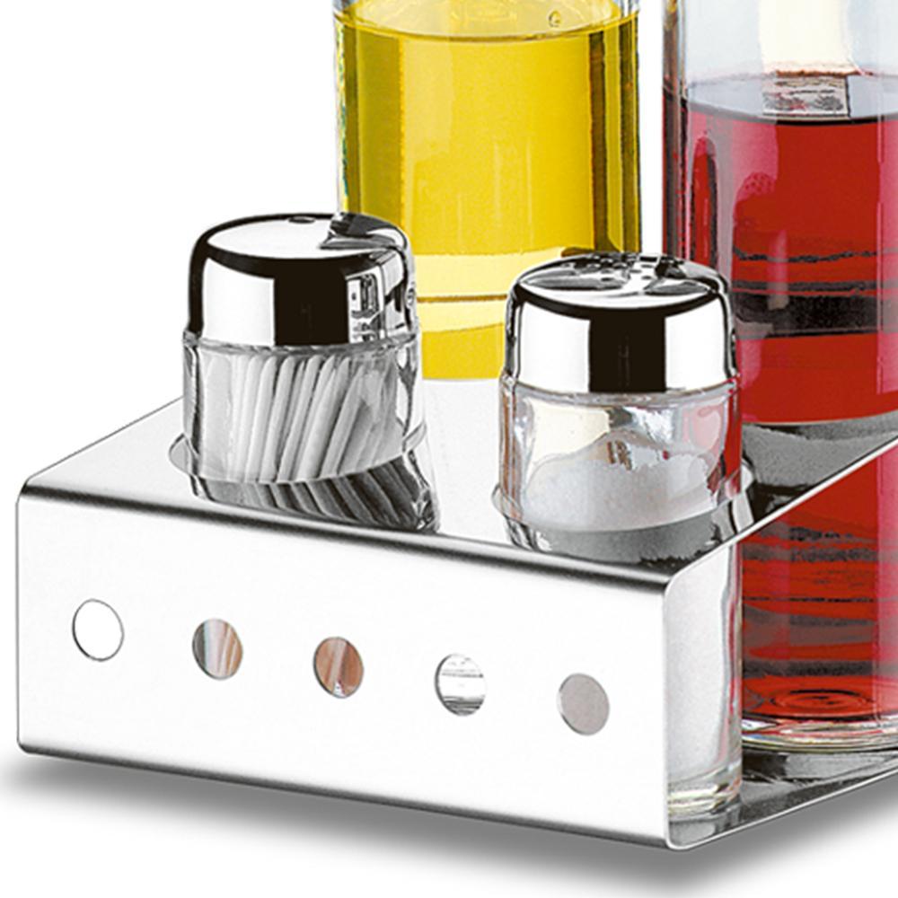 Porta Condimentos Galheteiro Com Paliteiro 5 Peças Em Vidro e Aço Inox Brinox Parma 1560/100