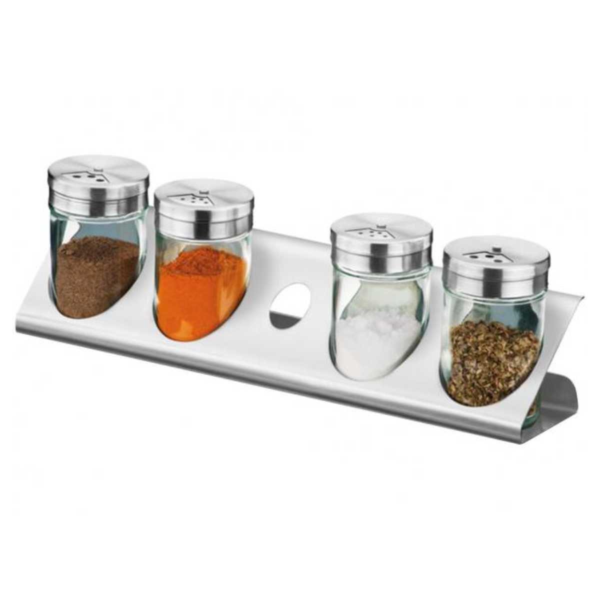 Porta Condimentos / Temperos Com Suporte 5 Peças Em Vidro e Aço Inox Brinox Parma 1576/100