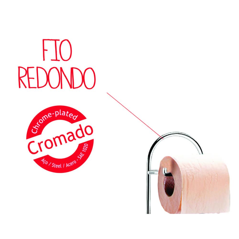 Porta Papel Higienico 13,5 X 47 CM ACO Cromado Brinox BEL Giorno 1778/101