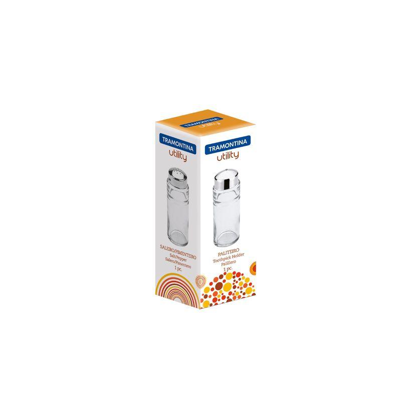 Porta Temperos de Vidro Saleiro / Pimenteiro 100 ml Com Tampa Aço Inox Tramontina Utility 61119/049