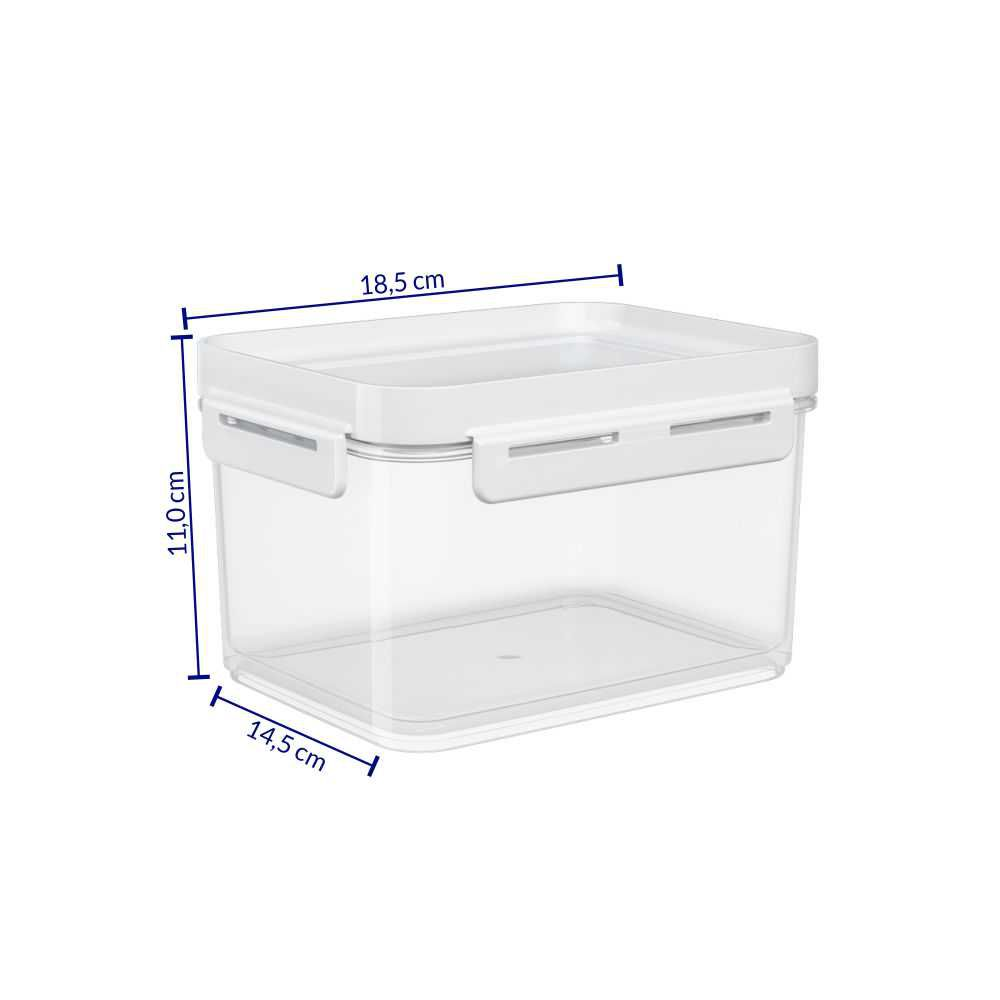 Pote Hermético 1,5 Litros Micro-Ondas, Freezer Coza Flap Tampa Branca 63004/0007