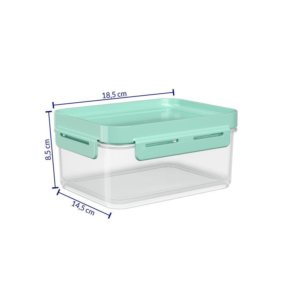 Pote Hermético 250 ml Micro-Ondas, Freezer Coza Flap Tampa Verde 63000/0473