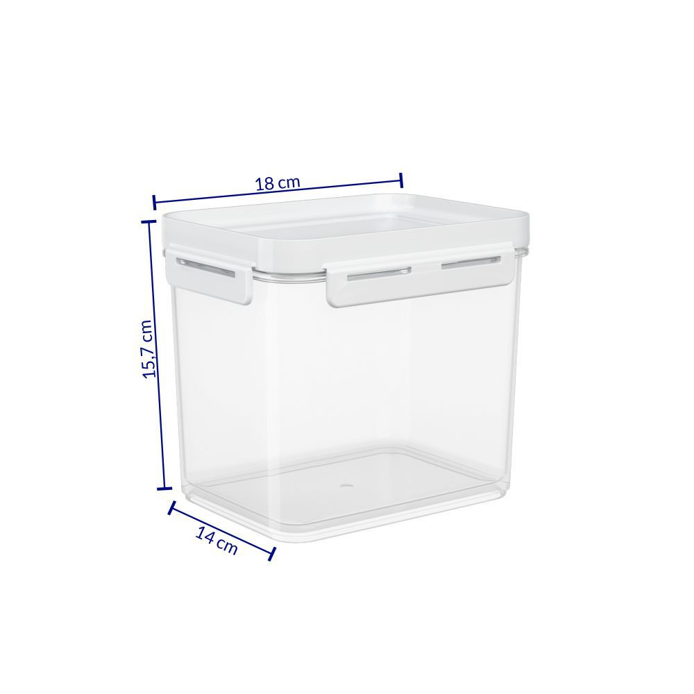 Pote Hermetico 2,20 Litros MICRO-ONDAS, Freezer Coza FLAP Tampa Branco 63005/0007