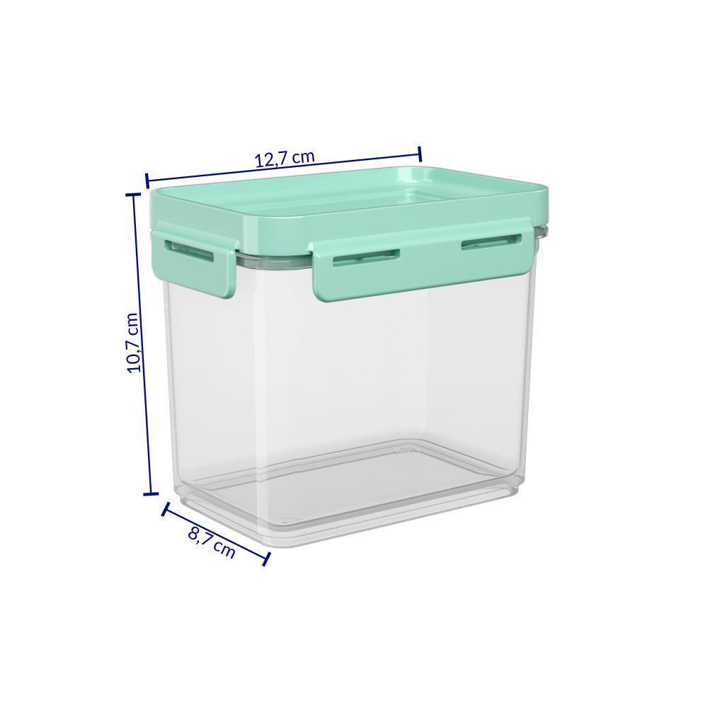Pote Hermético 600 ml Micro-Ondas, Freezer Coza Flap Tampa Verde 63001/0473