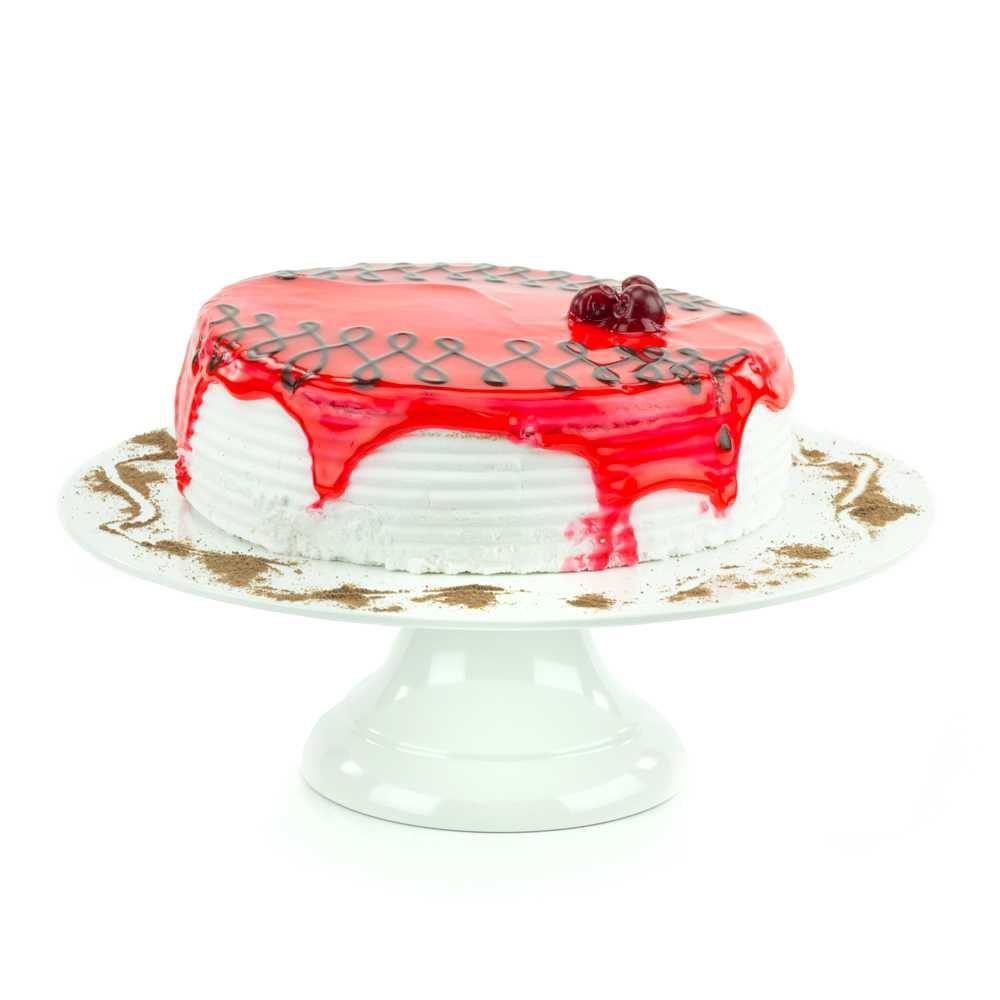 Prato Para Bolo ou Torta Com Pé 30,5 cm Branco Em Melamina 100% Profissional Gourmet Mix GX5415
