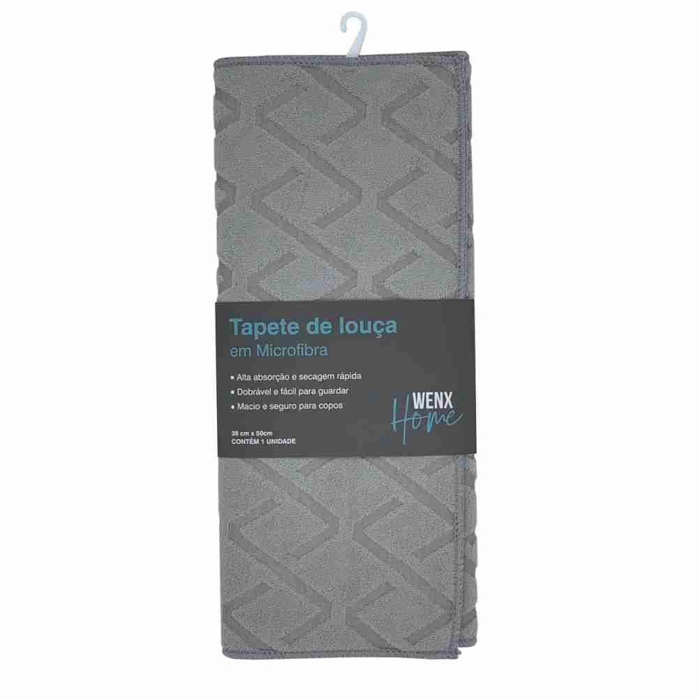 Tapete Escorredor de Louça Microfibra Cinza 50 x 38 cm Wenx Home