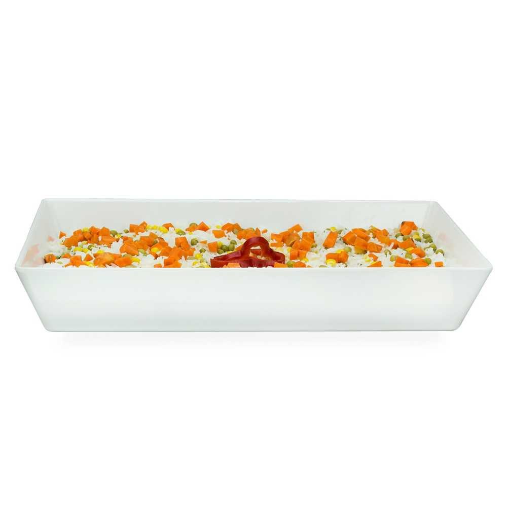Travessa Buffet 40 X 30 cm 5 Litros Branco Em Melamina 100% Profissional Gourmet Mix GX5391