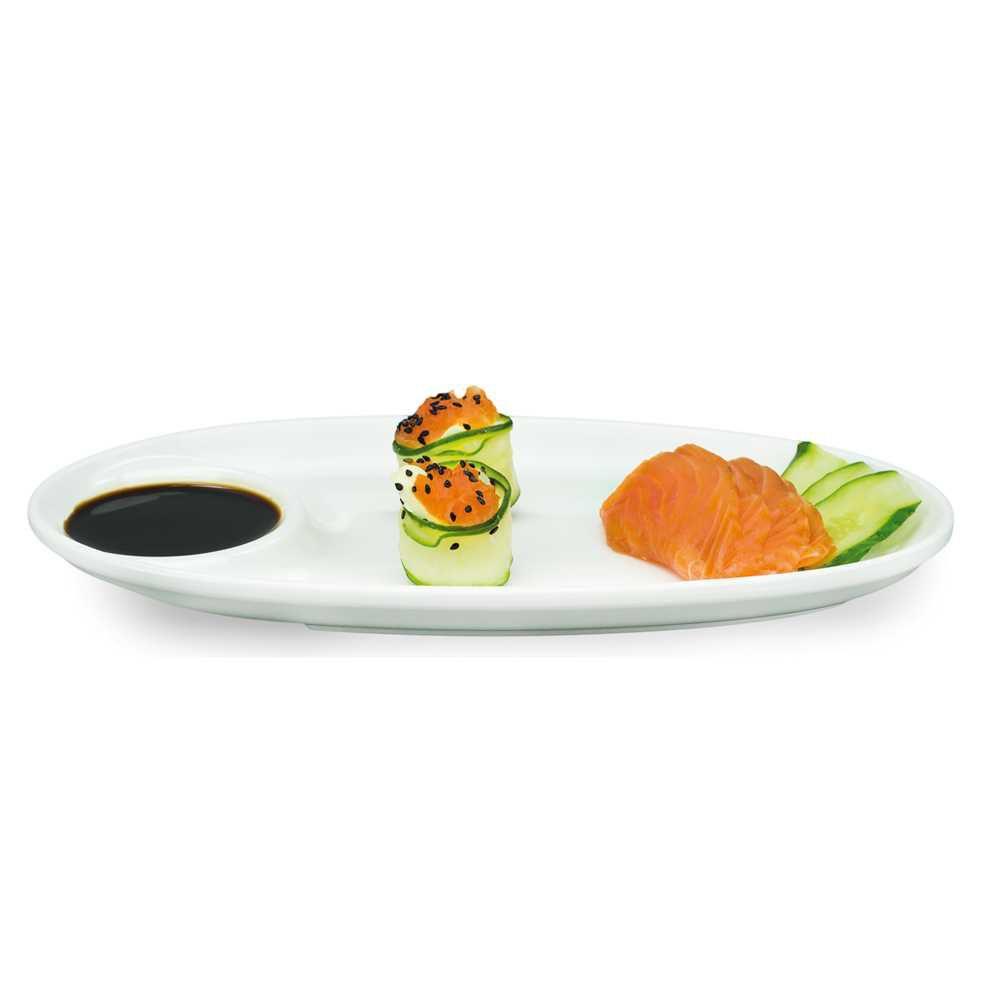 Travessa Oval 28 X 15 cm Com Porta Molho Branco Em Melamina 100% Profissional Gourmet Mix GX5406