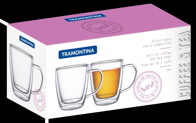 Xicaras para CHA e Cappuccino de Vidro com Parede Dupla Tramontina Coffee e Tea 2 Pecas 270 ML Cada 64760/410
