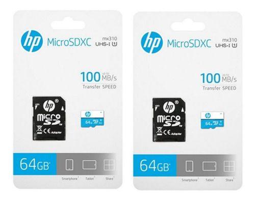 Kit 2 Cartão Memória Micro SD HP C10 U1 64GB Full HD (1080p)