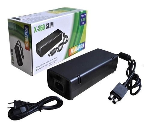 Fonte Carregador Xbox 360 Slim Video Games 110v 220v 2 Pinos