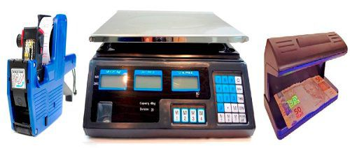 Balança 40kg, etiquetadora, detector de notas