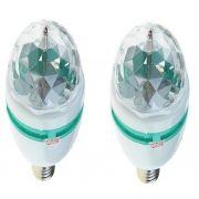 2 Lâmpada Luz Led Colorida Giratoria Vários Efeitos Colorido