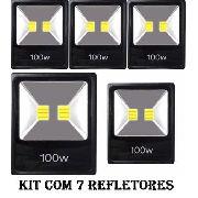 Kit 7 Refletor 100w Residencia Quintal Ruas Jardim Campo