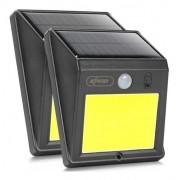 Kit 2 Luminária Refletor Solar 60 Leds Sensor De Presença