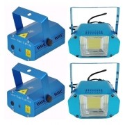 Kit 2 Mini Laser Jogo Luz, 2 Strobo Led Flash Xênon 20w