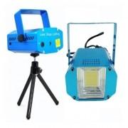 Kit 1 Strobo Room Led Luz Branca Xênon 20w, 1 Mini Laser Rgb