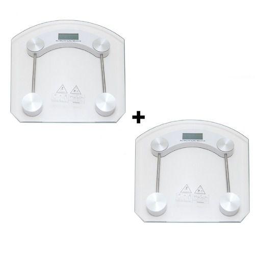 Kit 2 Balanças Digital Vidro Temperado Pesar 180kg Banheiro