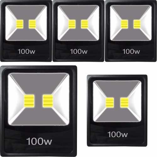 Kit 5 Refletor 100w Luminária Jardim Luz Cor Branco Frio Led