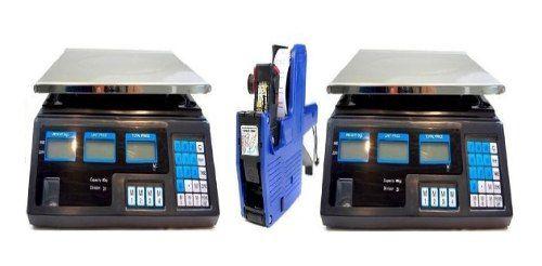 Kit 2 Balança Digital de 5Kg a 40kg 1 Maquina Etiquetadora