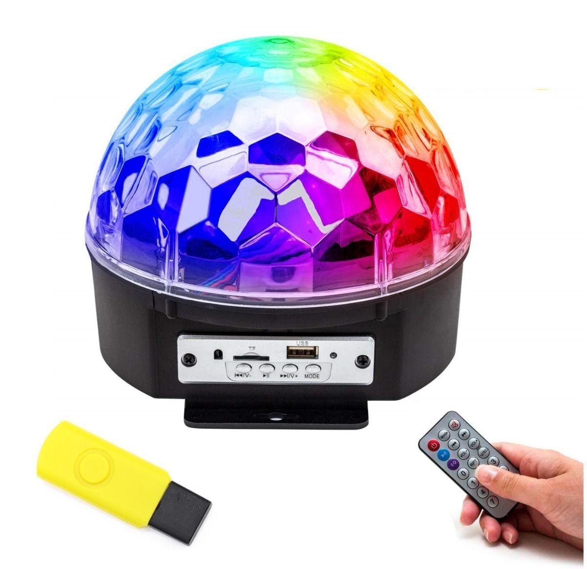 Bola Maluca Globo Bluetooth Rgb Colorido Strobo Fade Festas