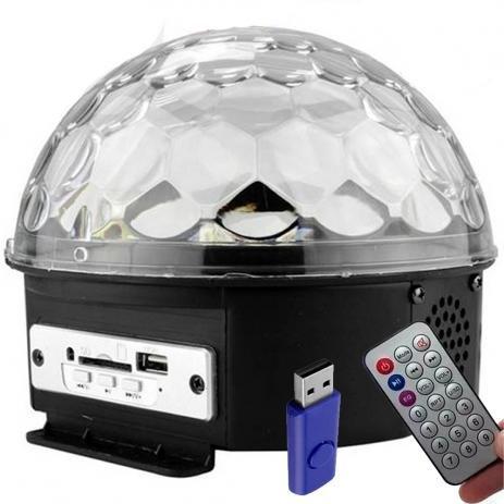 Bola Maluca Mp3 Led Rgb Projeto Holográfico Bluetooth Bivolt