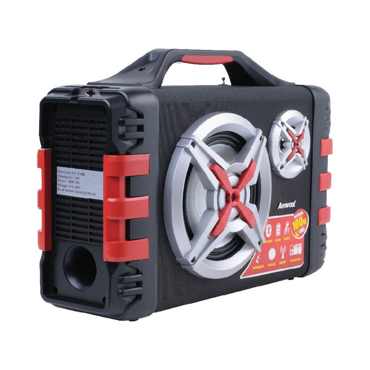 Caixa Amplificada 100w P10 Aux Microfone E Violão Com Alça