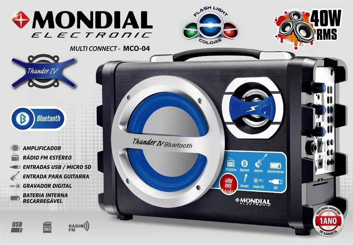 Caixa Amplificadora Mondial MCO-04 Multi Connnect Bluetooth Bivolt