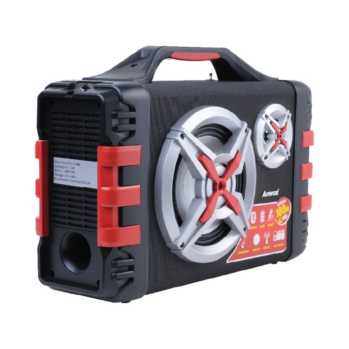 Caixa Bluetooth Amplificada Amvox Aca-150 100w Radio Mp3 P10