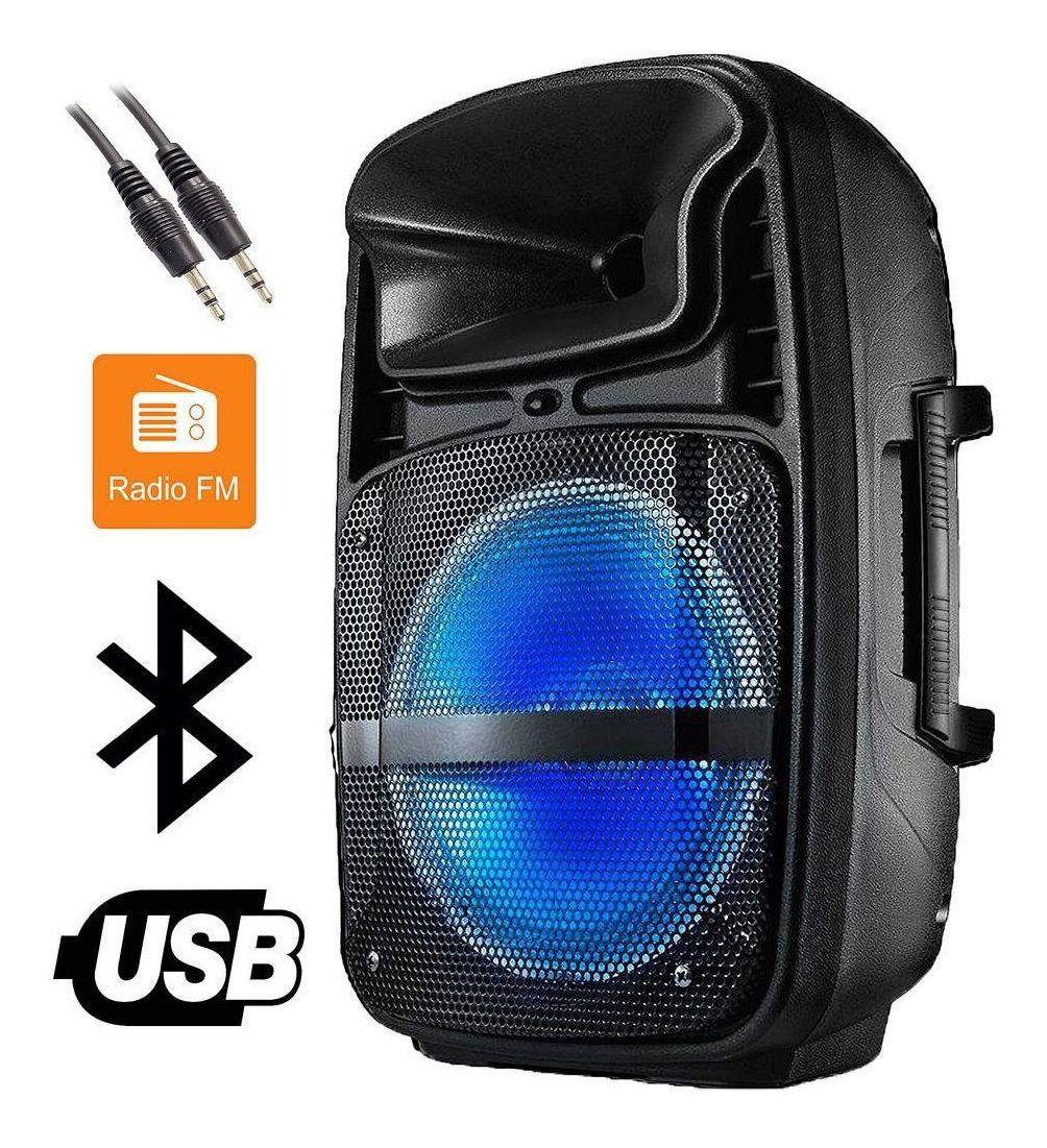 Caixa De Som Bluetooth Mp3 Usb Amplificada Subwoofer 80 Rms