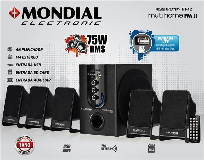 Home Theater HT-12, 5.1 Canais, USB, Subwoofer, Rádio FM, 75W RMS - Mondial