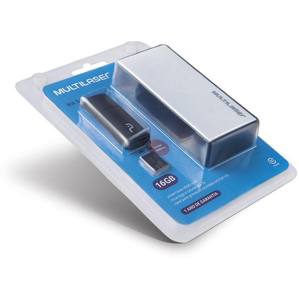 Carregador Portátil Power + Cartão De Memória Microsd 16gb
