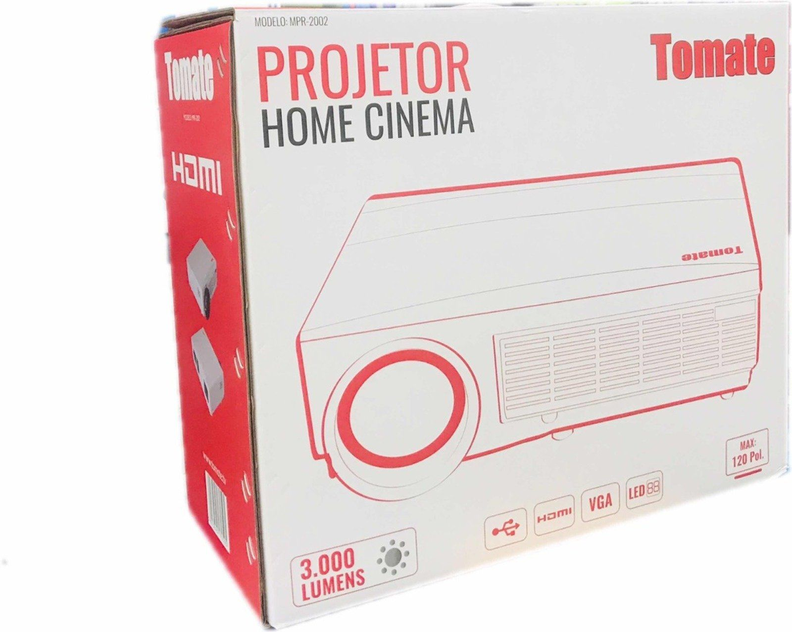 Datashow Home Cinema Projetor Led 3000 Lumnes Avi Hdmi Vga
