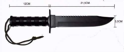 Faca Rambo Tatica Combate Militar Caça Pesca Bainha Nylon