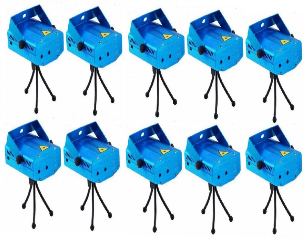 Kit 10 Projetor Holográfico Canhão Laser Festa Strobo Efeito