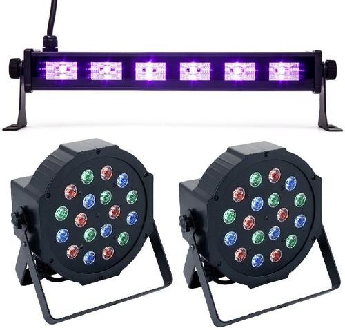Kit 2 Canhão 18 Leds, 1 Ribalta Luz Negra Efeitos Iluminação