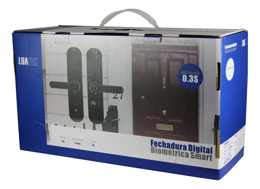 Kit 2 Fechadura Biometrica Inteligent Senha Teclado Esquerdo