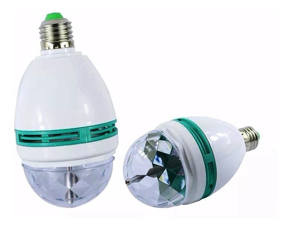 Kit 2 Lâmpada Giratória Bola Maluca com Efeitos Luz Colorida