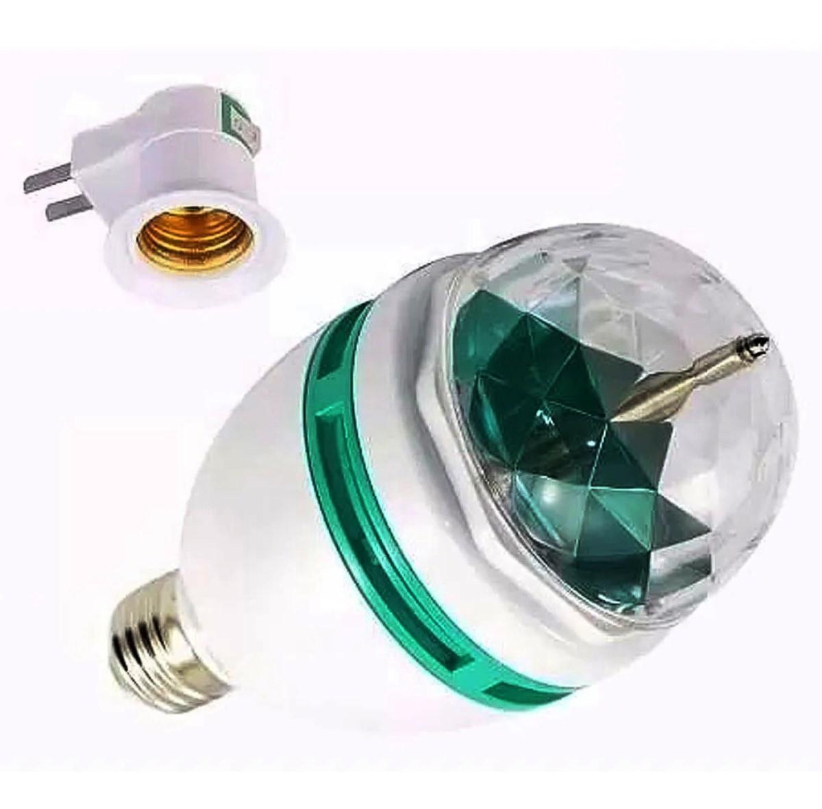 Kit 2 Lampada giratória colorida 2 Mini Projetor Holográfico