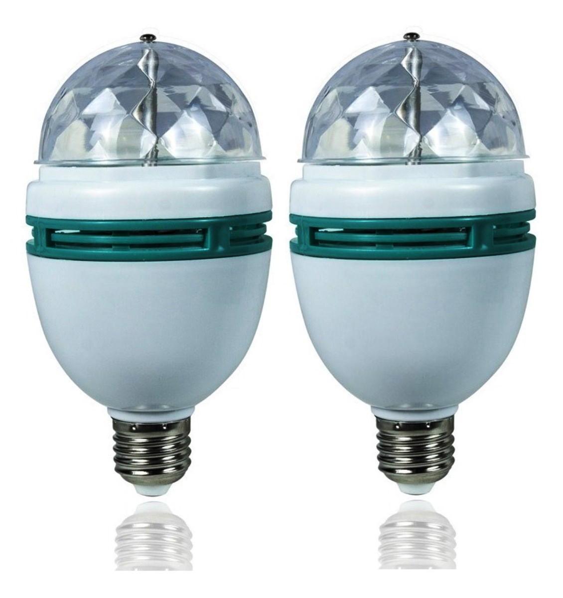 Kit 2 Lâmpadas Dj Giratória Efeitos Luz Iluminação Colorida