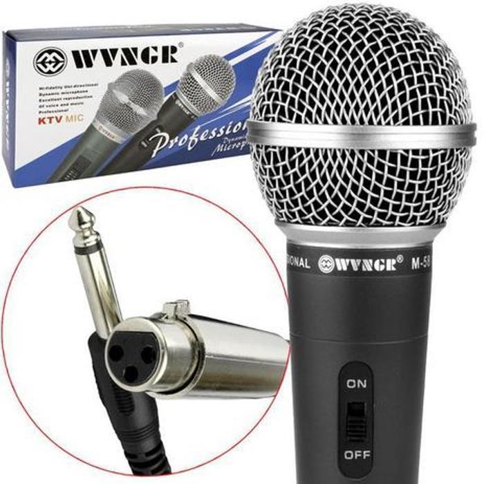 Kit 2 Microfone Profissional Com Cabo Fio 3m Escola Palestra